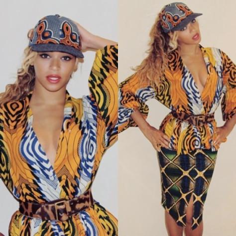 beyoncé en total look wax, avec chemisier, jupe mi-longue et casquette en tissu wax ou tissu ethnique africain