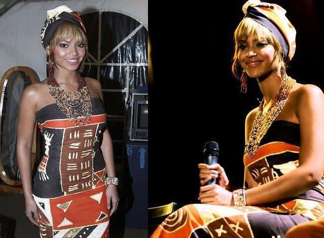 beyoncé porte avec élégance une robe aux motifs ethniques africains et un bandeau dans les cheveux