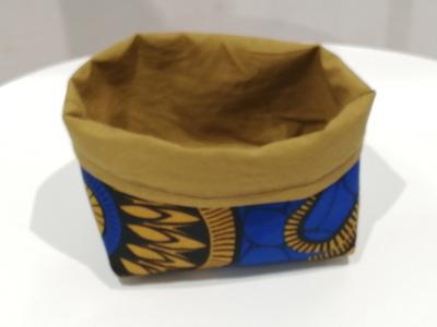 panière ou vide-poche doublé en tissu wax et tissu coton