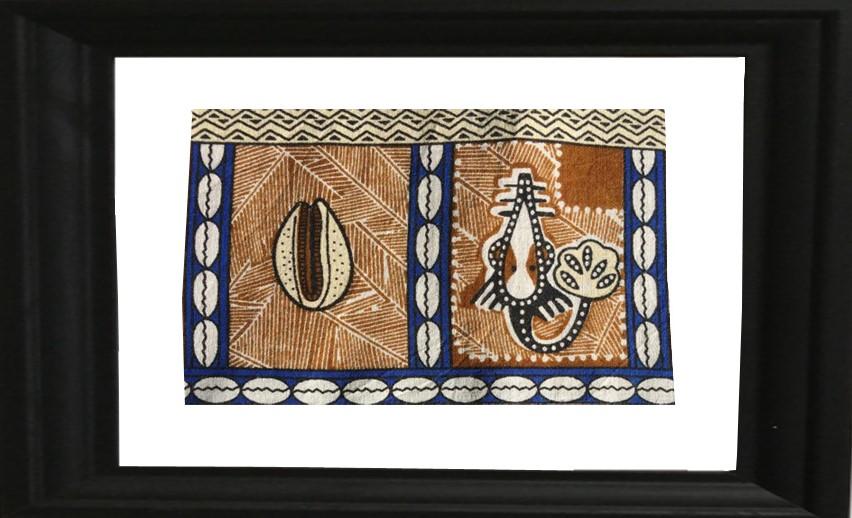 tableau ou cadre photo en tissu wax ou tissu style ethnique