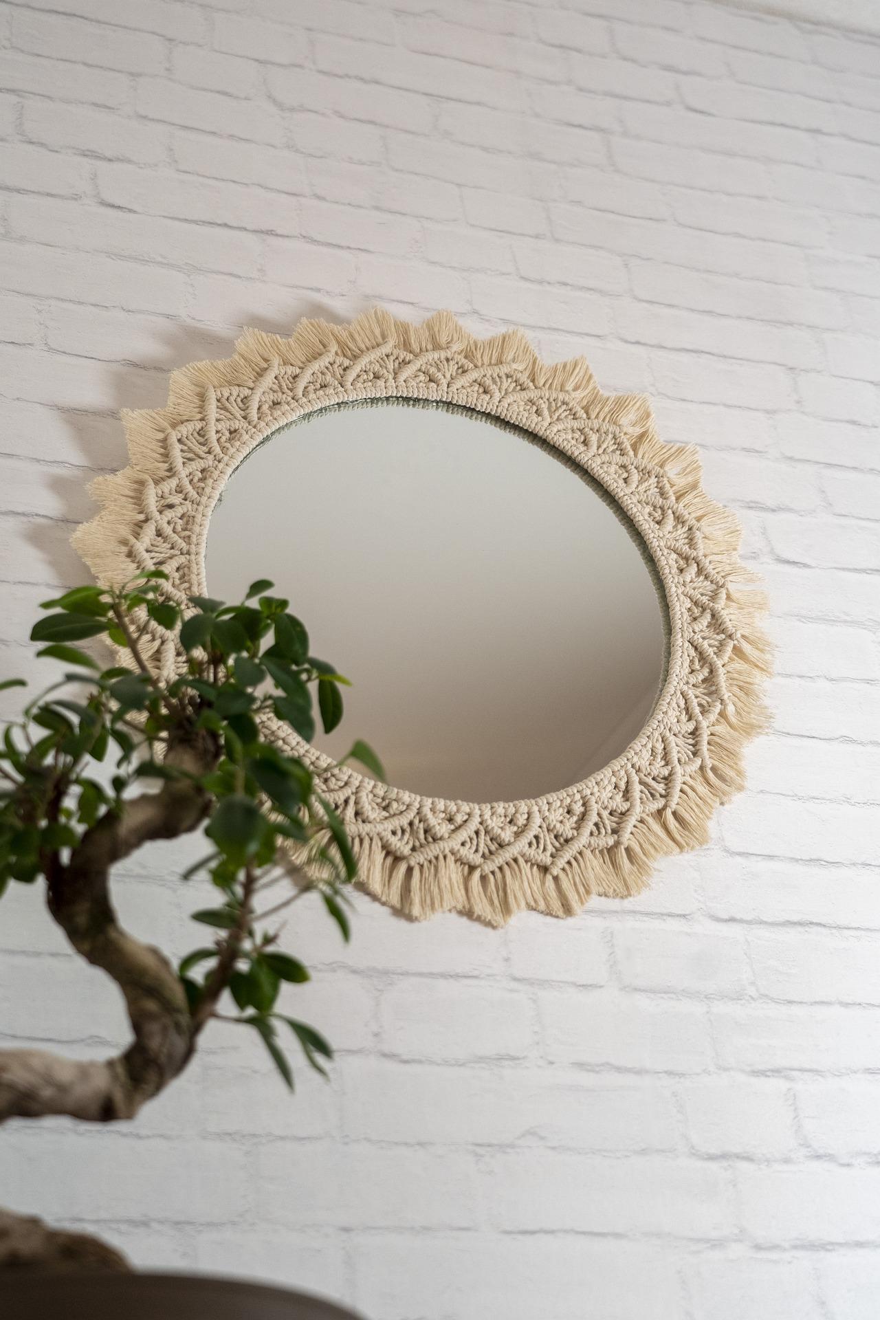 décoration murale macramé style miroir soleil