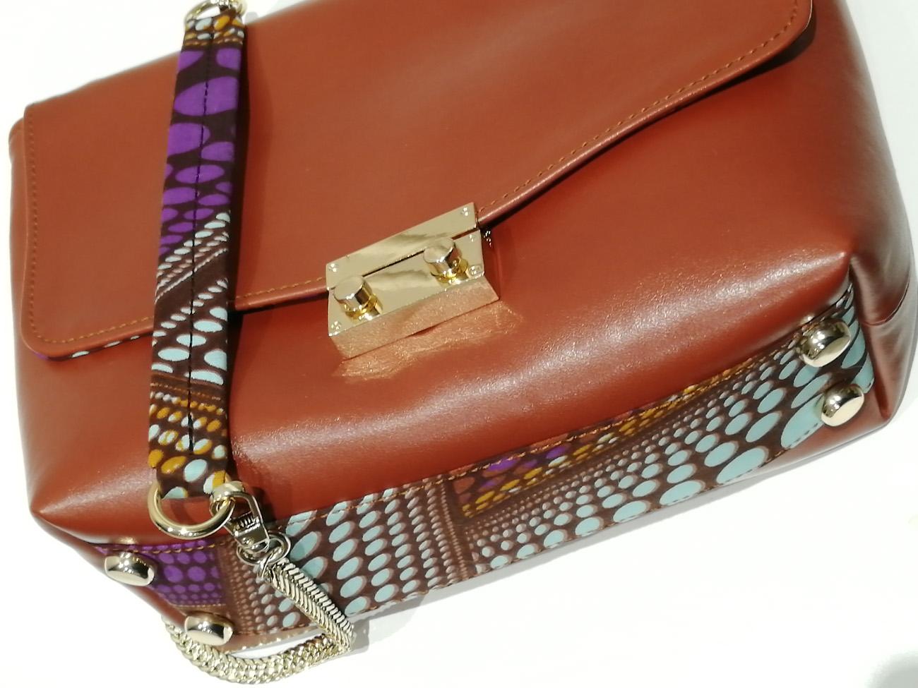 sac à main ethnique cuir et tissu wax
