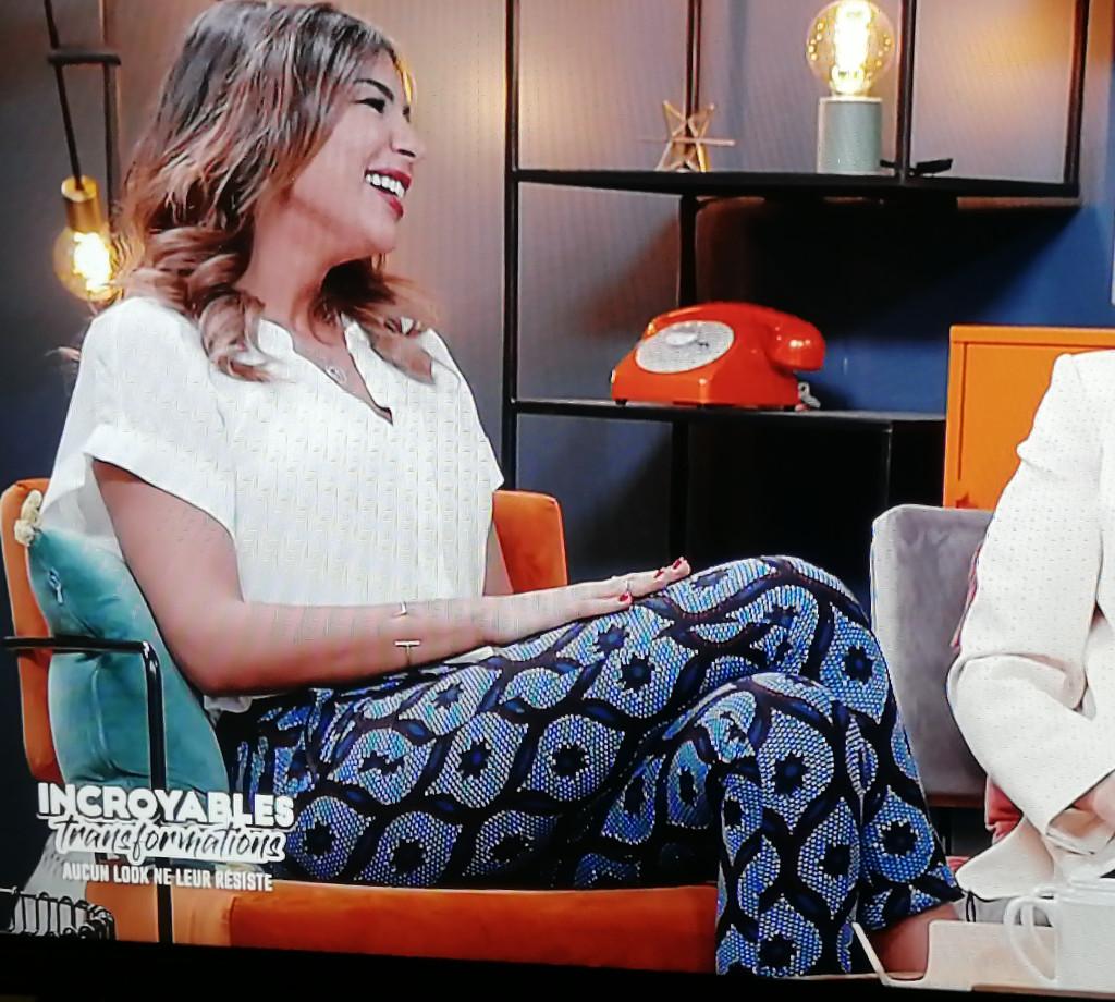 léa djadja, madame black vue dans l'émission incroyables transformations sur m6 en pantalon wax