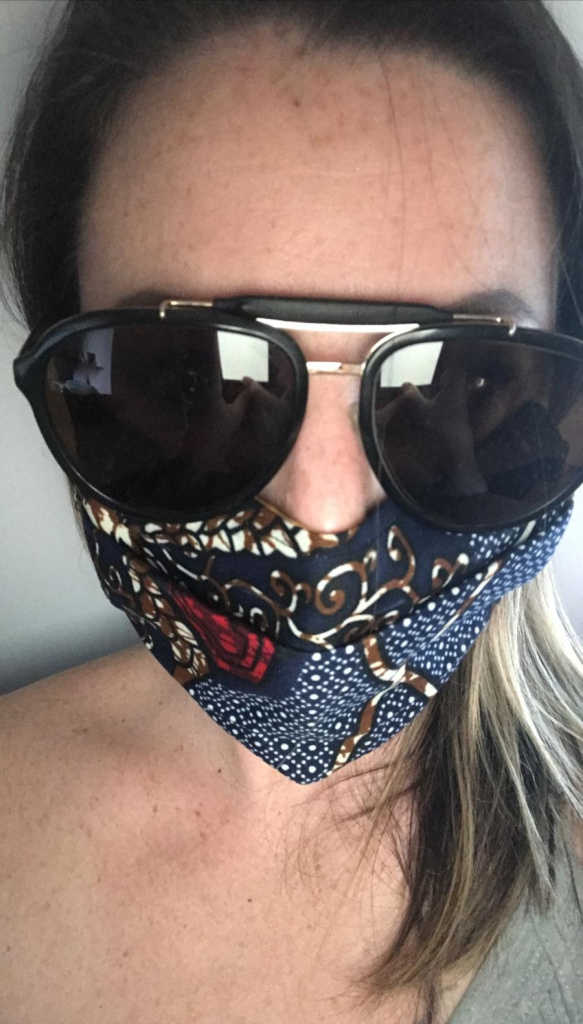 lunettes de soleil et masque en tissu motifs ethniques, tissu wax