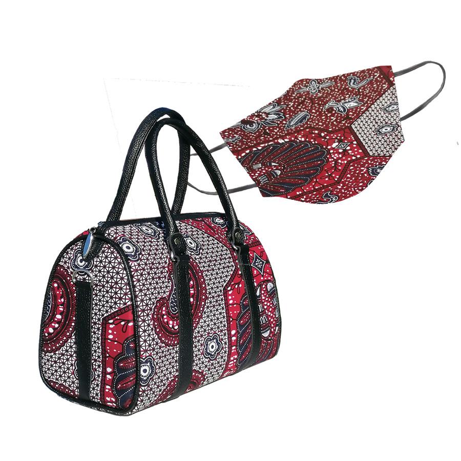 masque de protection en tissu ethnique et sac à main en cuir et tissu wax assortis