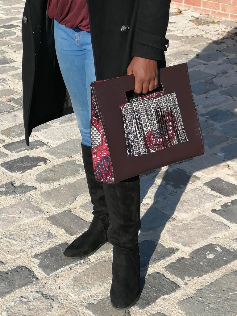 sac à main en cuir et tissu wax, sac à main avec franges, sac à franges